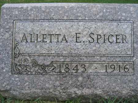 SPICER, ALLETTA E. - Union County, Ohio | ALLETTA E. SPICER - Ohio Gravestone Photos