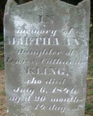 KLING, MARTHA ANN - Warren County, Ohio | MARTHA ANN KLING - Ohio Gravestone Photos