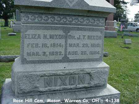 NIXON, ELIZA - Warren County, Ohio | ELIZA NIXON - Ohio Gravestone Photos