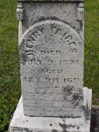 FAIRES, HENRY - Washington County, Ohio | HENRY FAIRES - Ohio Gravestone Photos