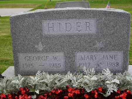 HIDER, MARY JANE - Wayne County, Ohio | MARY JANE HIDER - Ohio Gravestone Photos