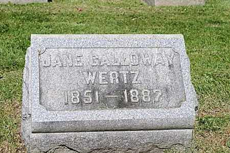 GALLOWAY WERTZ, JANE - Wayne County, Ohio | JANE GALLOWAY WERTZ - Ohio Gravestone Photos