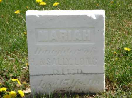 LONG, MARIAH - Wyandot County, Ohio | MARIAH LONG - Ohio Gravestone Photos